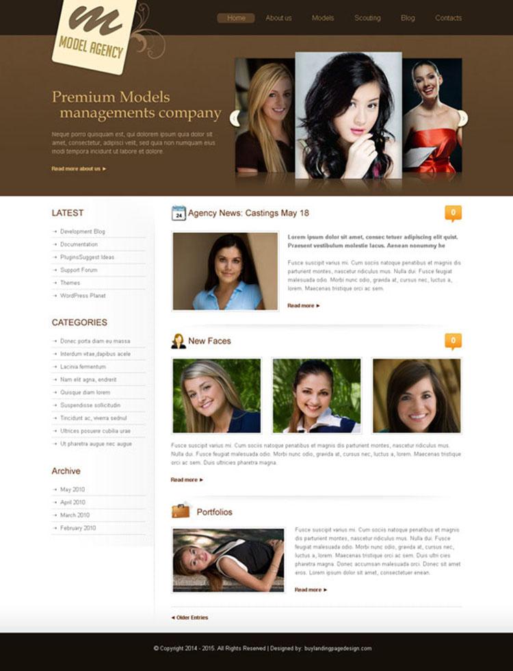 modeling agency website template design psd