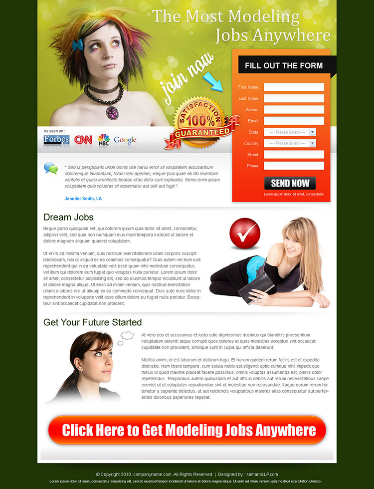 best landing page design for modeling job lead capture