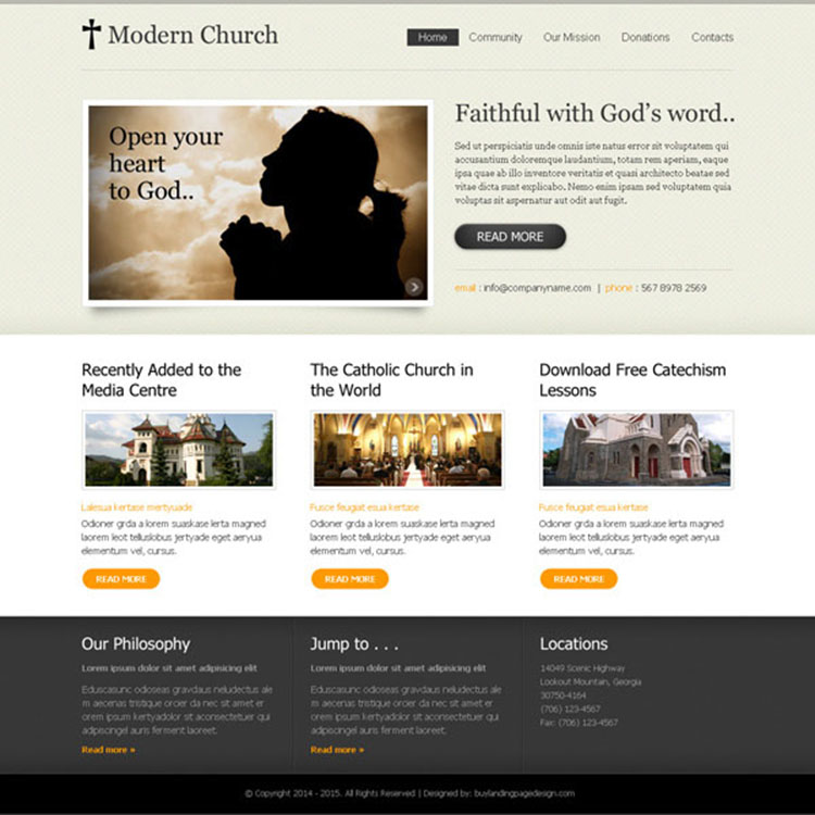 modern church clean and converting website template design psd for creating your website