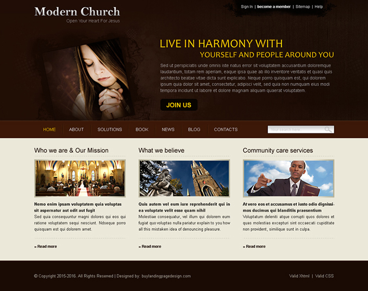 modern church website template design psd for sale