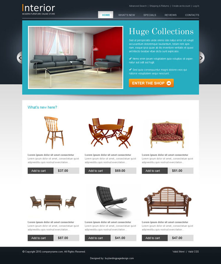professional and converting website template design psd for online furniture shop