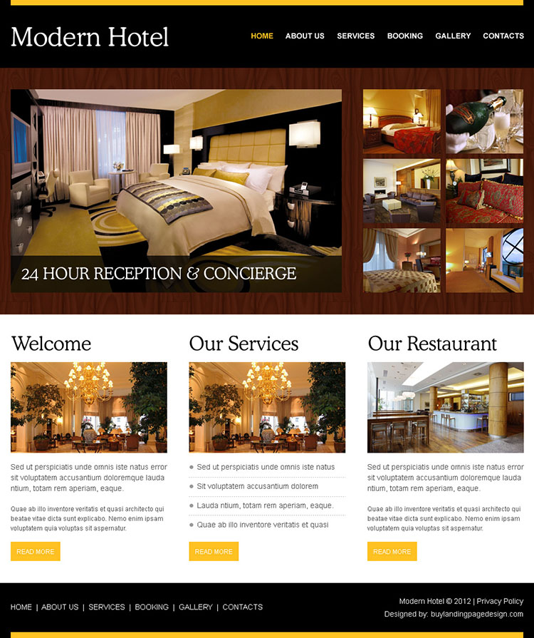Create your beautiful website with html css website template for Hotel web design