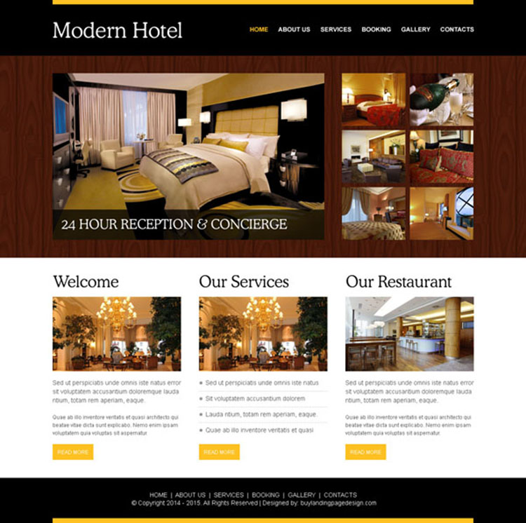 modern hotel appealing website template design psd