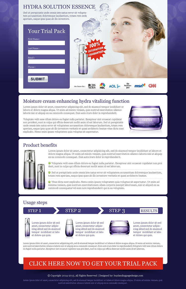 beauty product cream lead capture landing page design