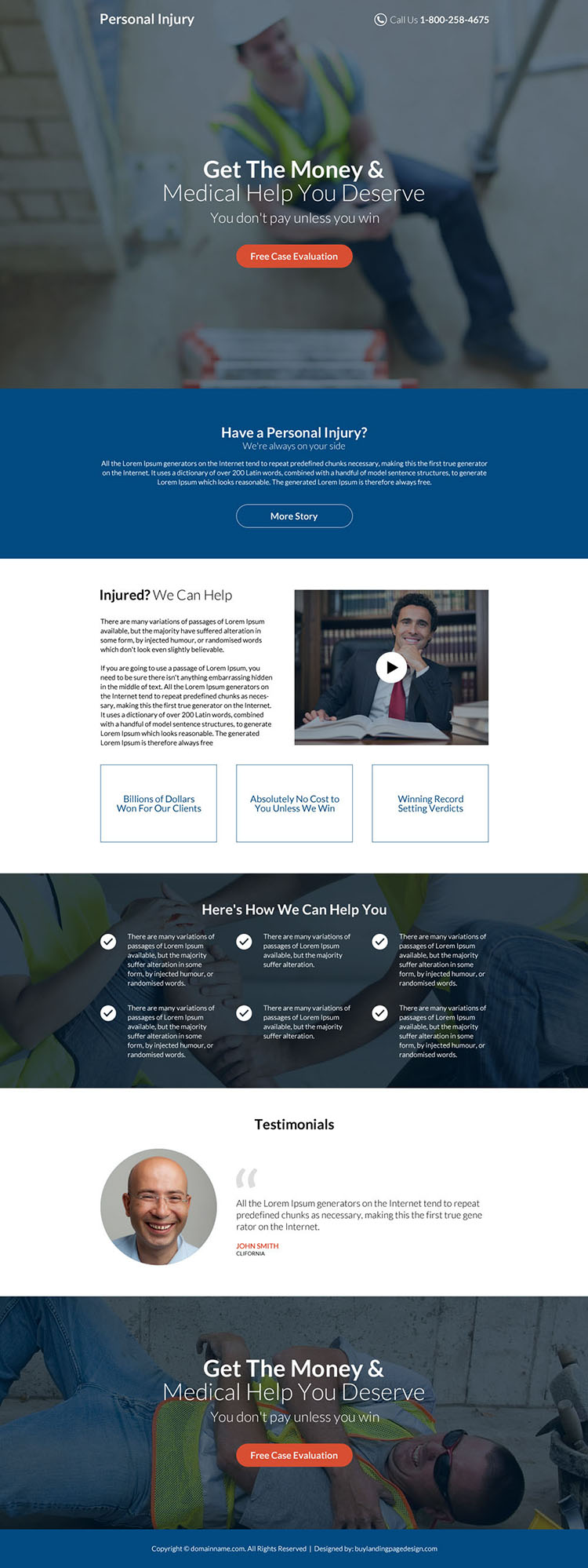 personal injury free case evaluation professional landing page design