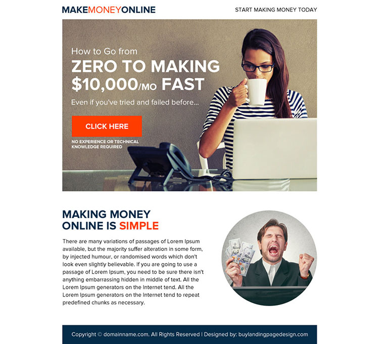 make money online eye-catching ppv landing page