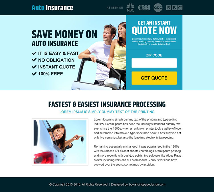 money saving auto insurance pay per view landing page design