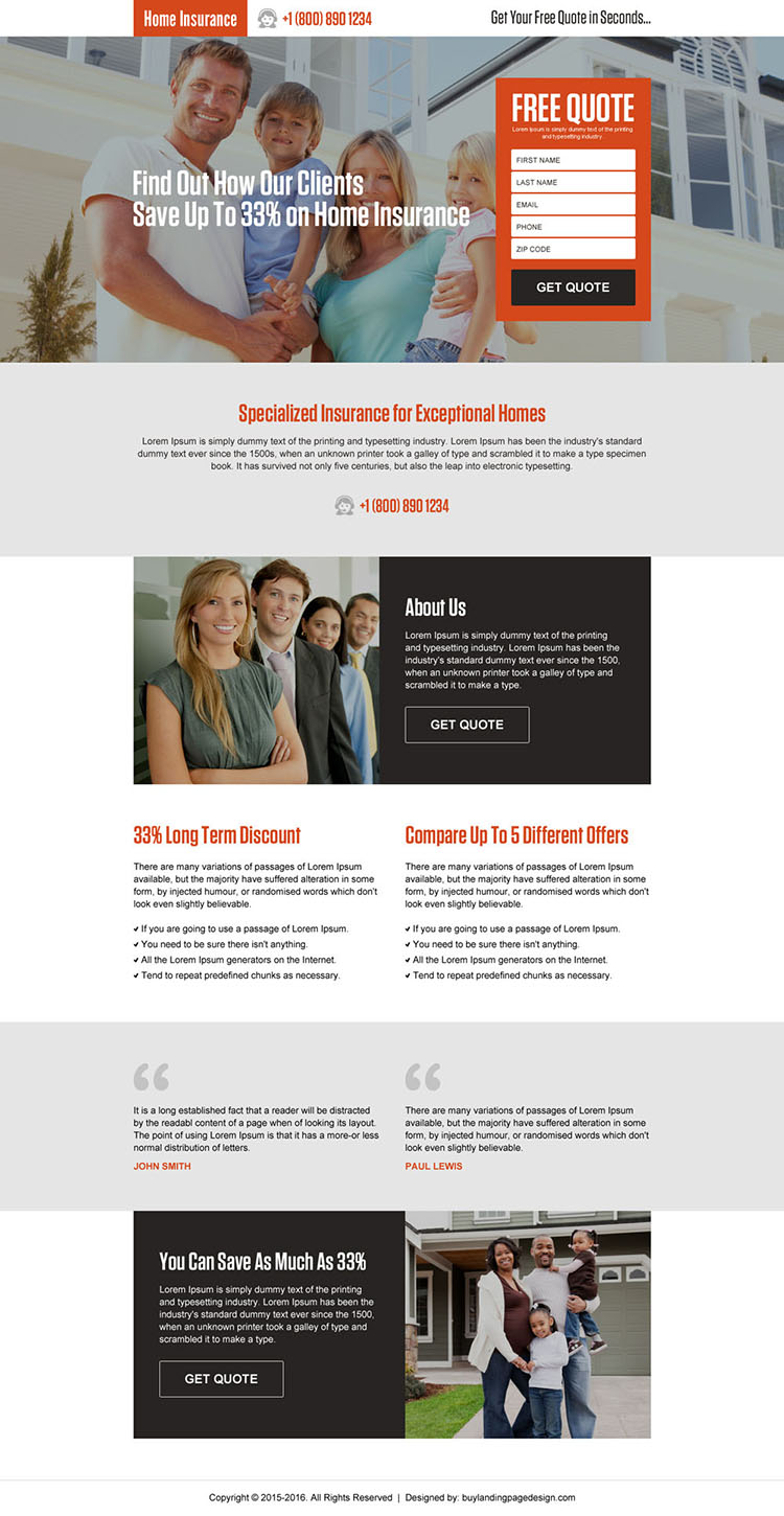 money saving home insurance quote landing page design