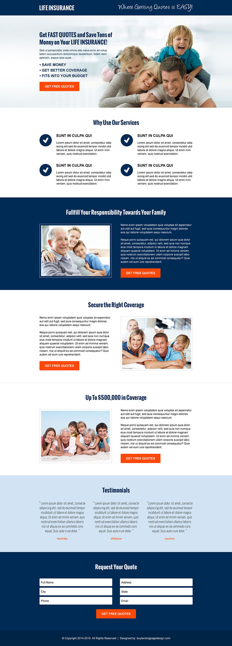 money saving life insurance free quote cta and lead capture responsive landing page design template