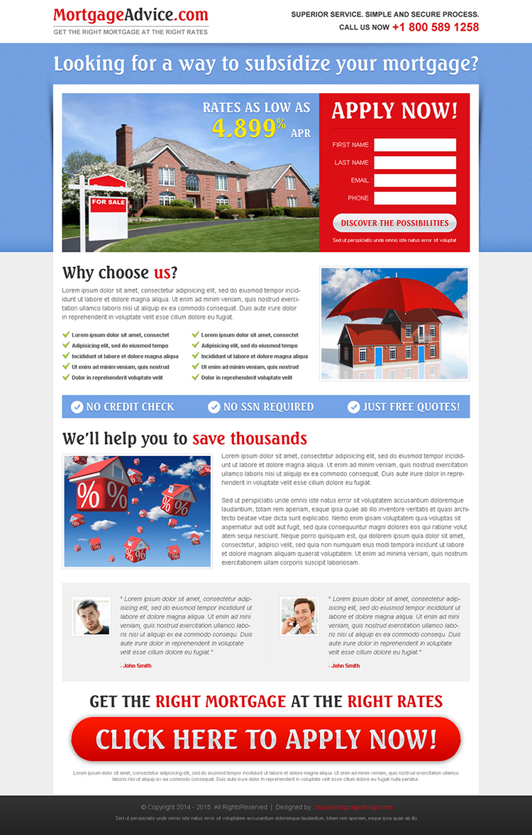 beautiful and creative highest converting mortgage landing page design