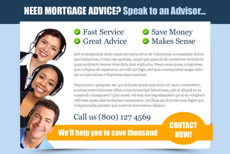 mortgage advice service appealing ppv landing page design template
