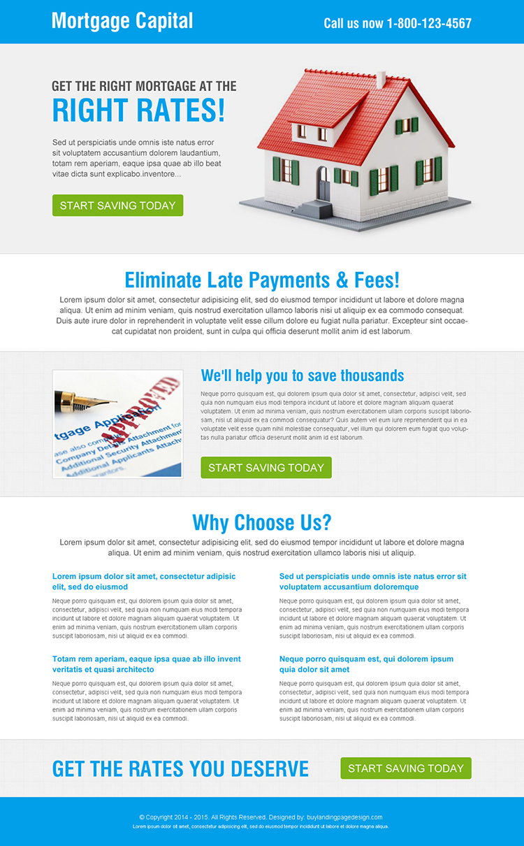 simple and clean mortgage capital call to action responsive landing page