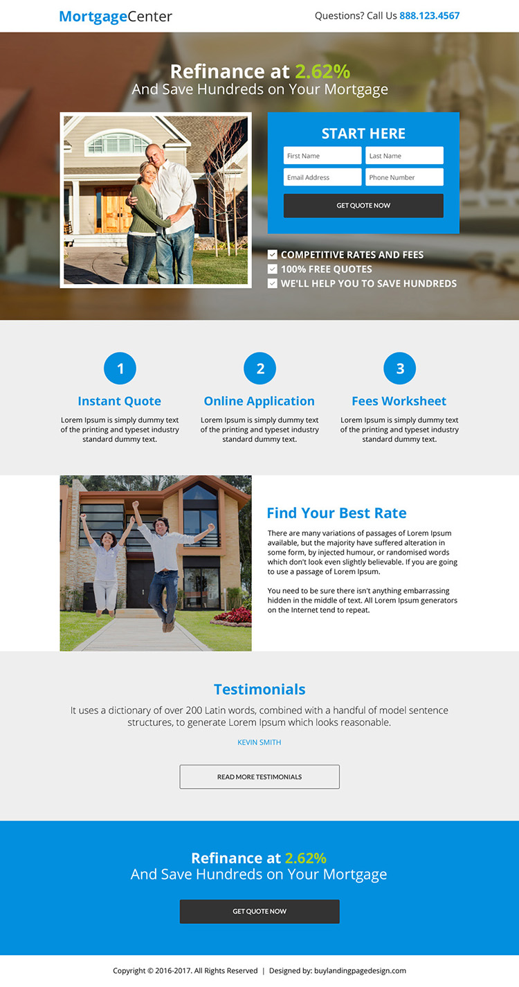 clean mortgage center lead capturing landing page
