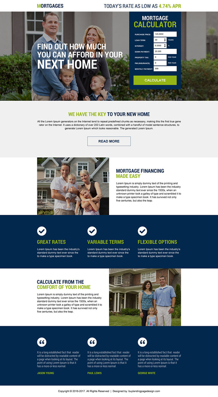 mortgage financing calculator lead generating landing page