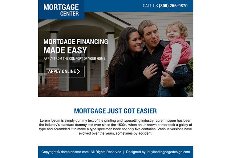mortgage financing online application ppv landing page design
