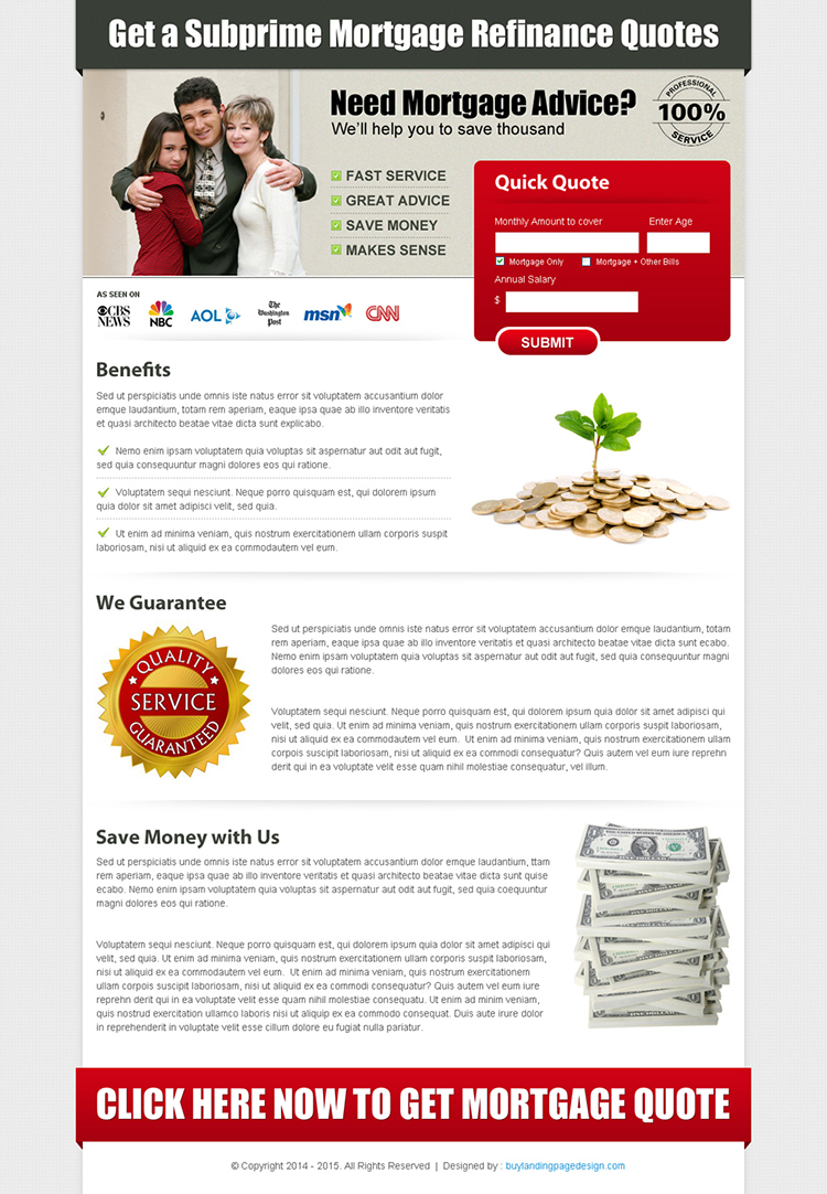 mortgage business lead capture landing page design