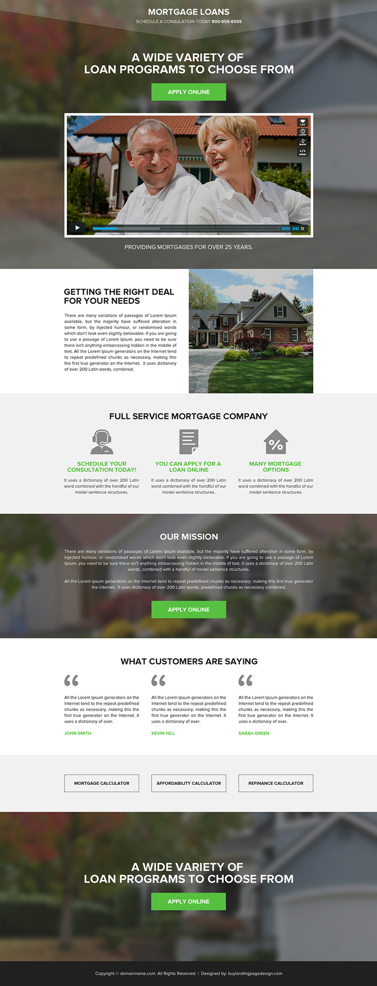 mortgage against property responsive video landing page