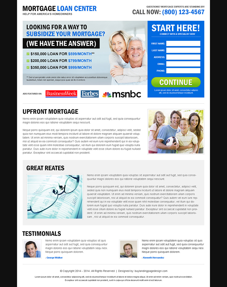 mortgage loan center effective and user friendly lead capture landing page design