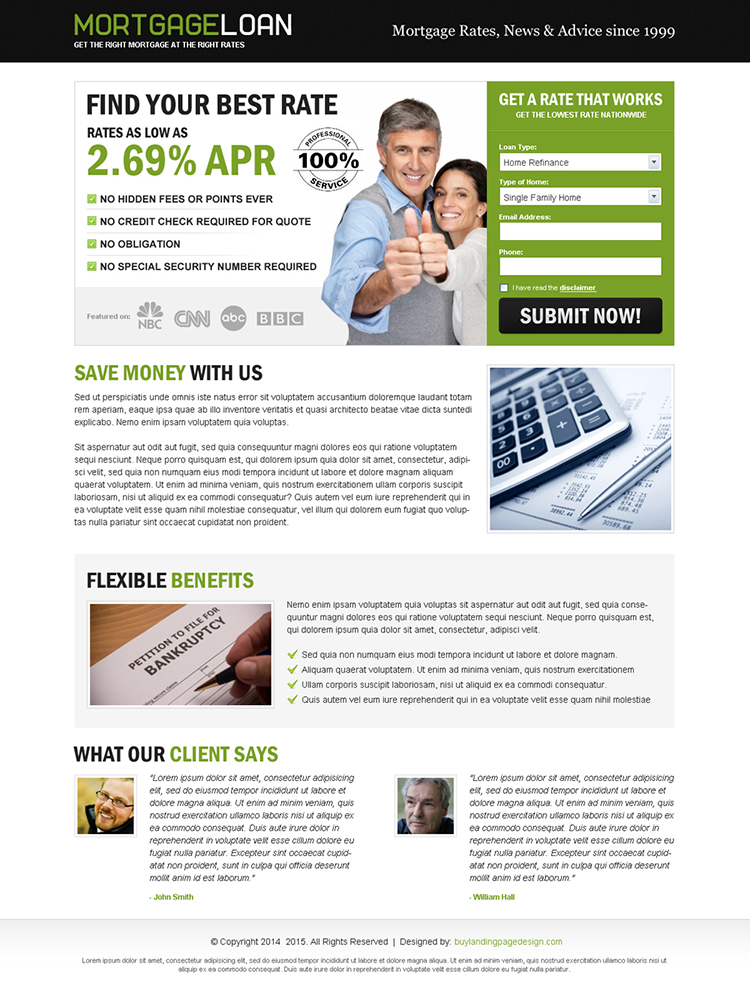 mortgage loan best rate lead capture eye catching landing page design