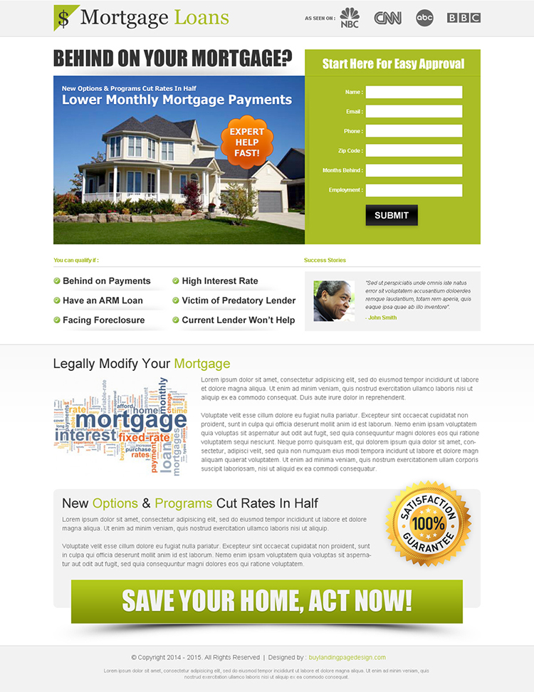 clean and effective mortgage lead capture squeeze page design