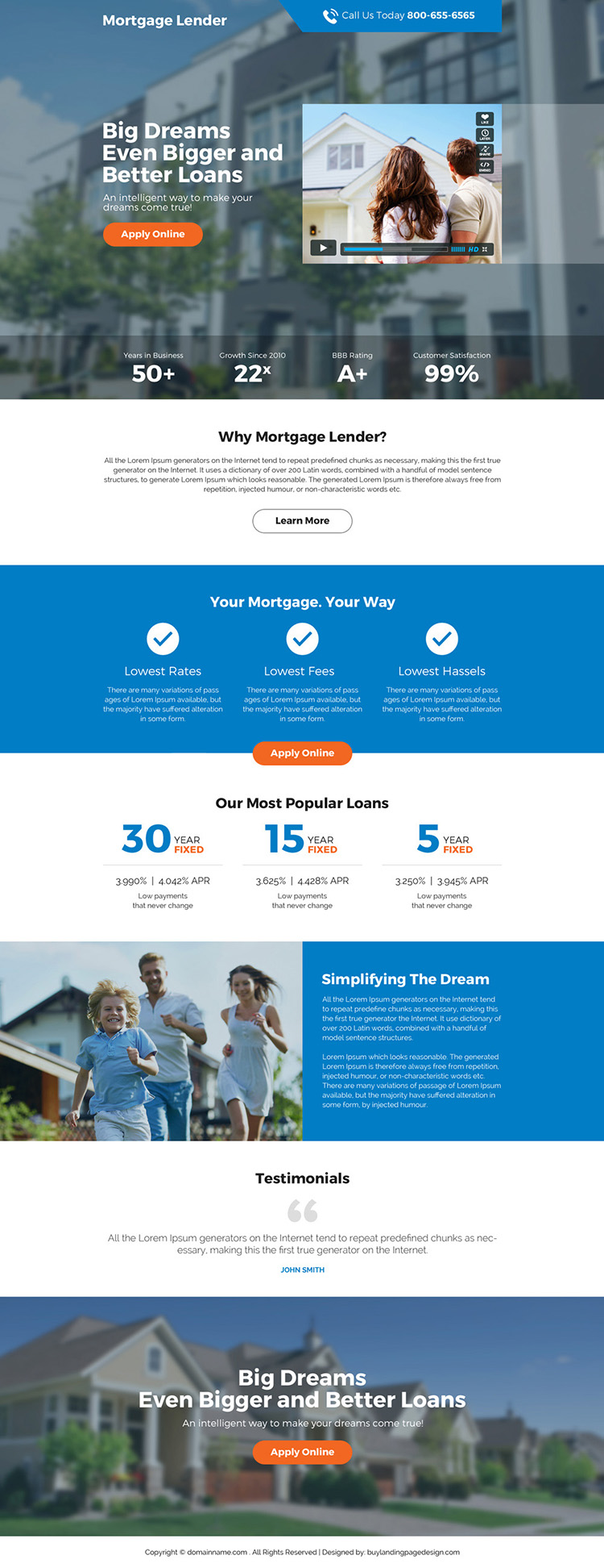 mortgage loan responsive video landing page design