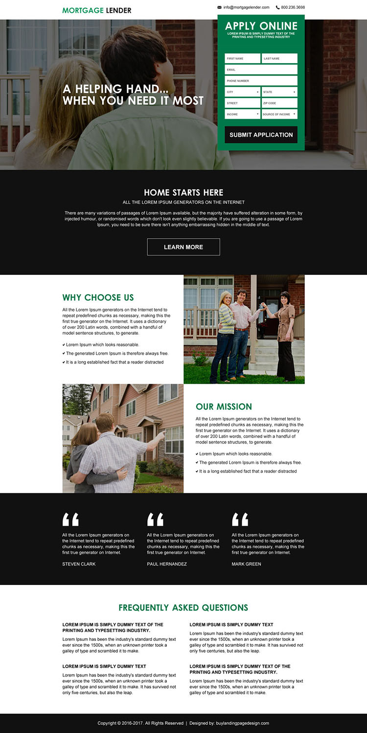 mortgage payment calculator lead capturing responsive landing page