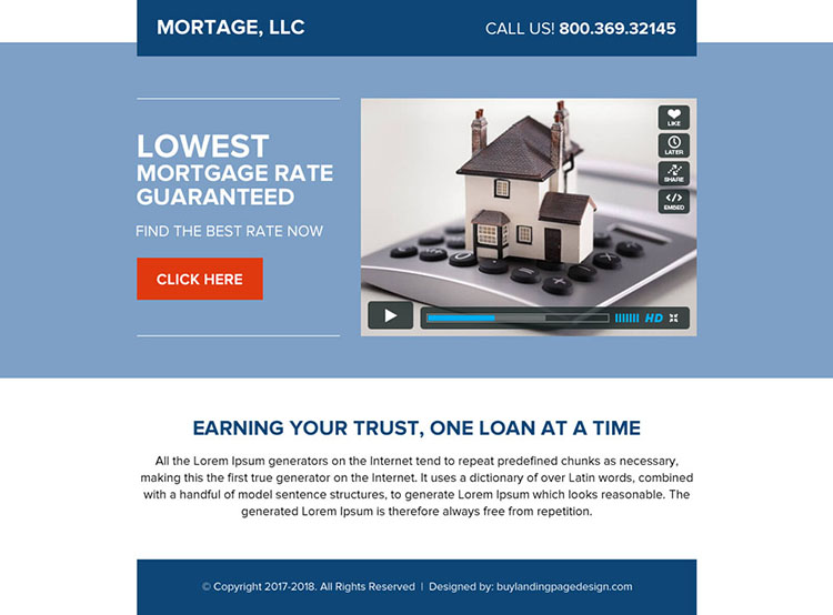 mortgage ppv landing page design with video