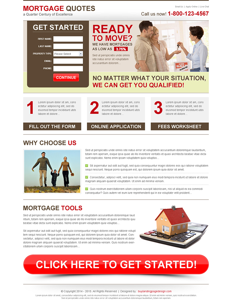 mortgage quotes amazing lead capture informative landing page
