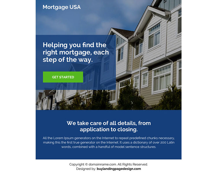 clean and professional mortgage ppv landing page design