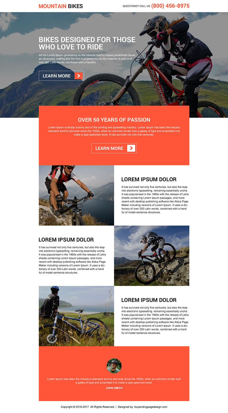 mountain bikes lead capturing landing page design
