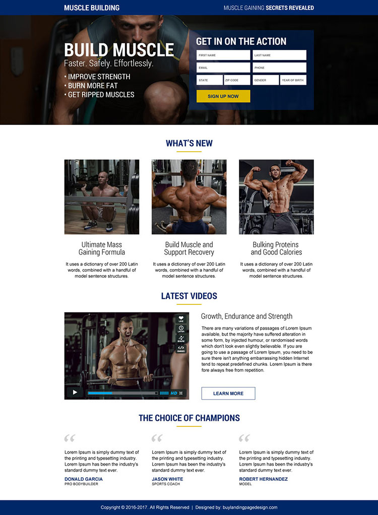 muscle building secrets sign up lead capturing responsive landing page design