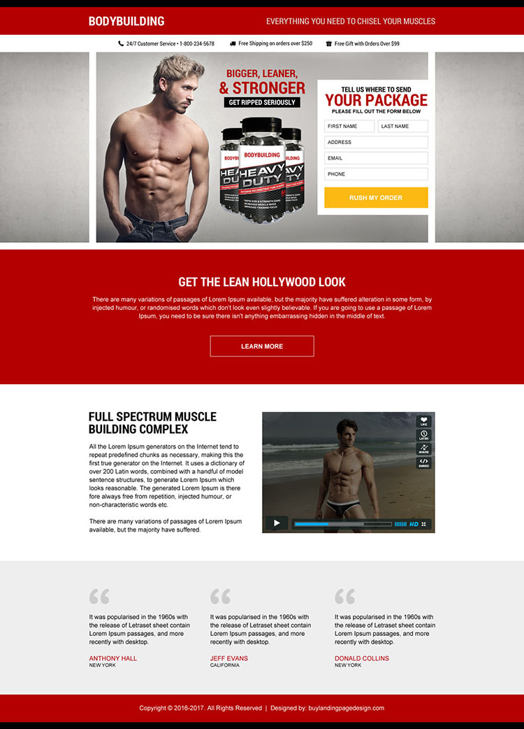muscle building supplement package landing page design