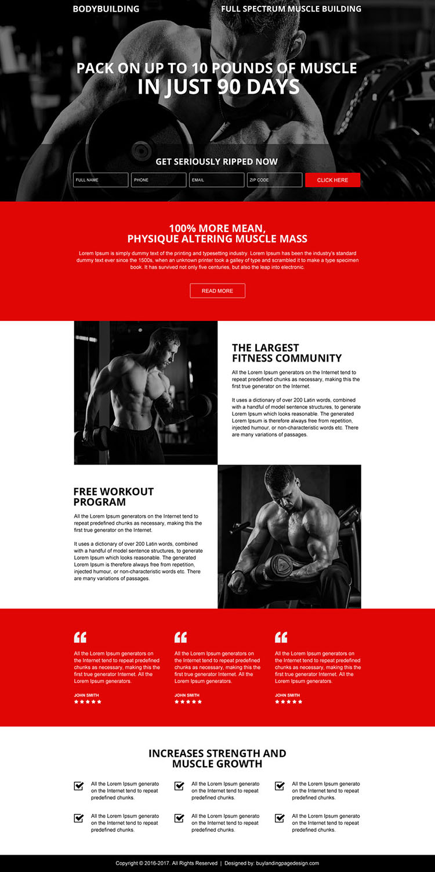 responsive muscle building workout dark landing page design