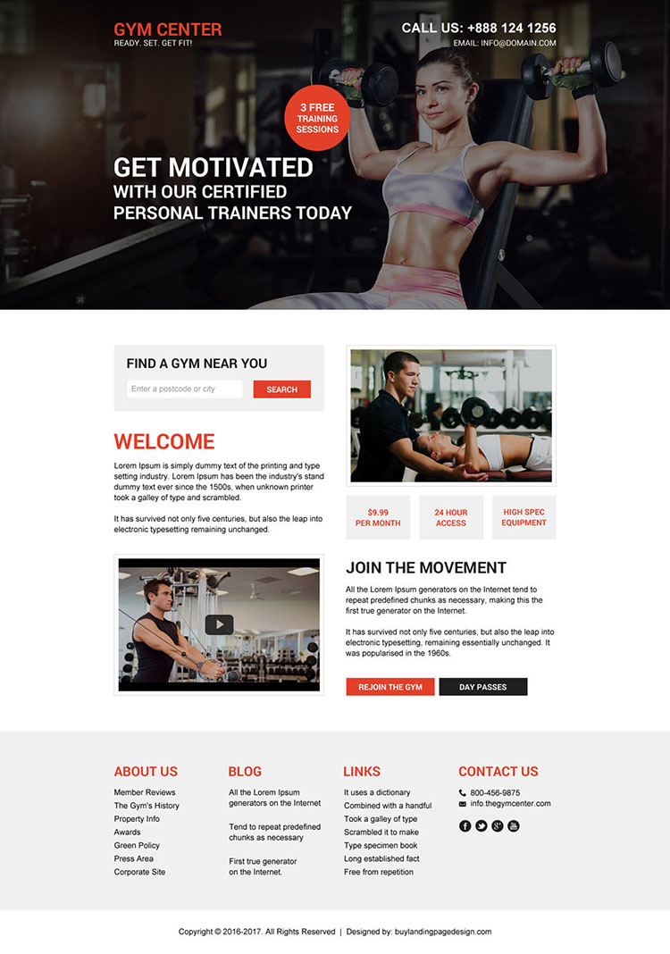 muscle building workout responsive landing page design