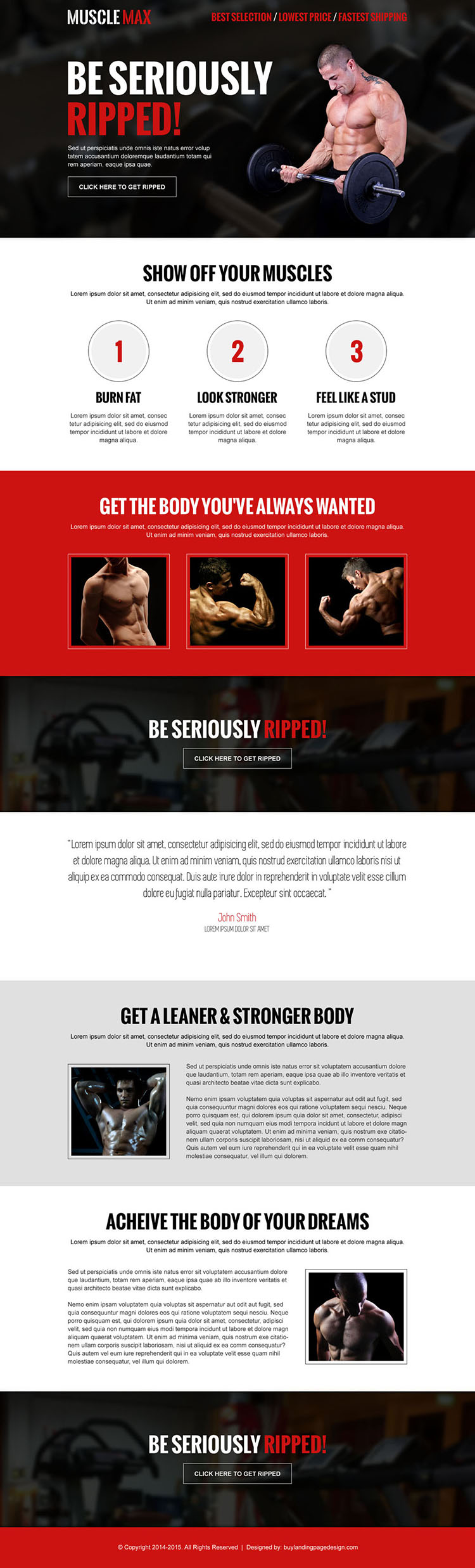 get seriously ripped clean and converting body building call to action responsive landing page design