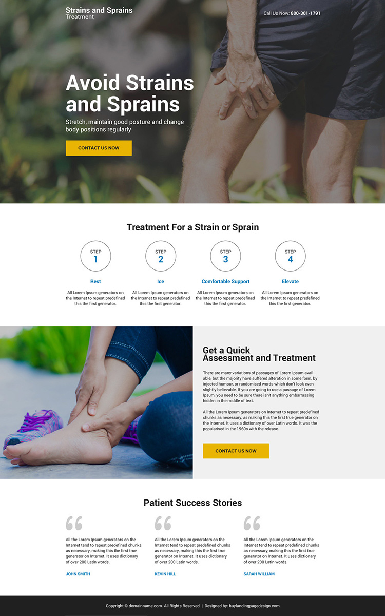 muscle strain and sprain treatment mini responsive landing page