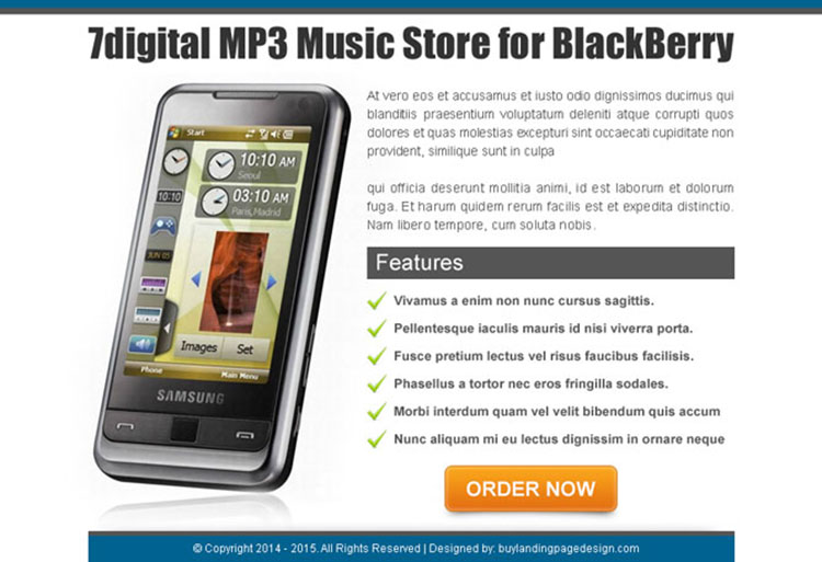 mps music store for blackberry high converting ppv landing page design
