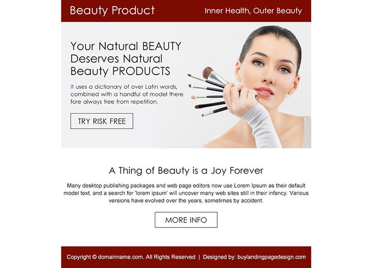 natural beauty product risk free trial PPV design