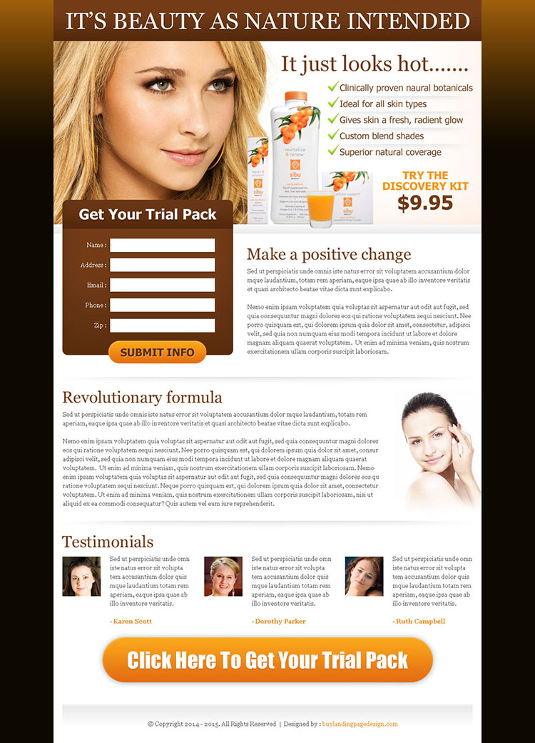 natural beauty product lead capture page design