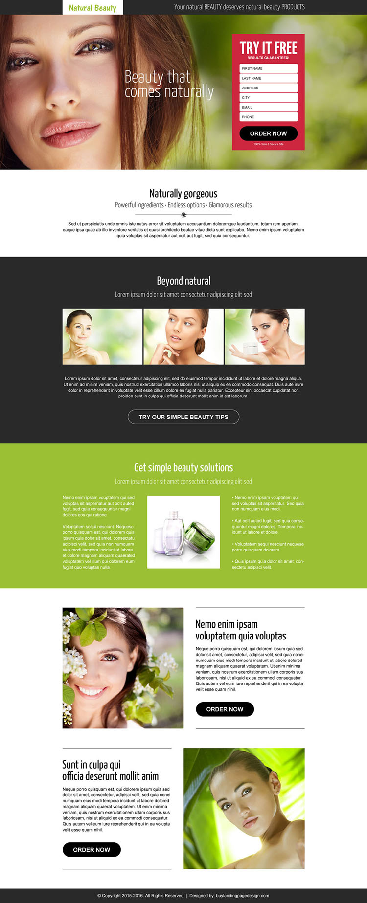 natural beauty product converting landing page design template
