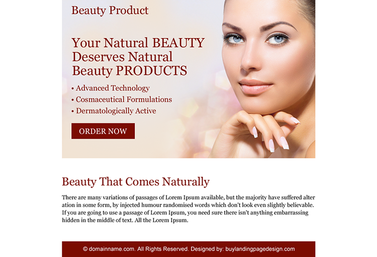 natural beauty product ppv landing page design