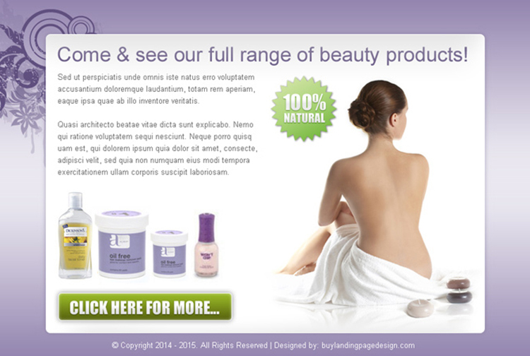 full range of beauty product call to action ppv landing page