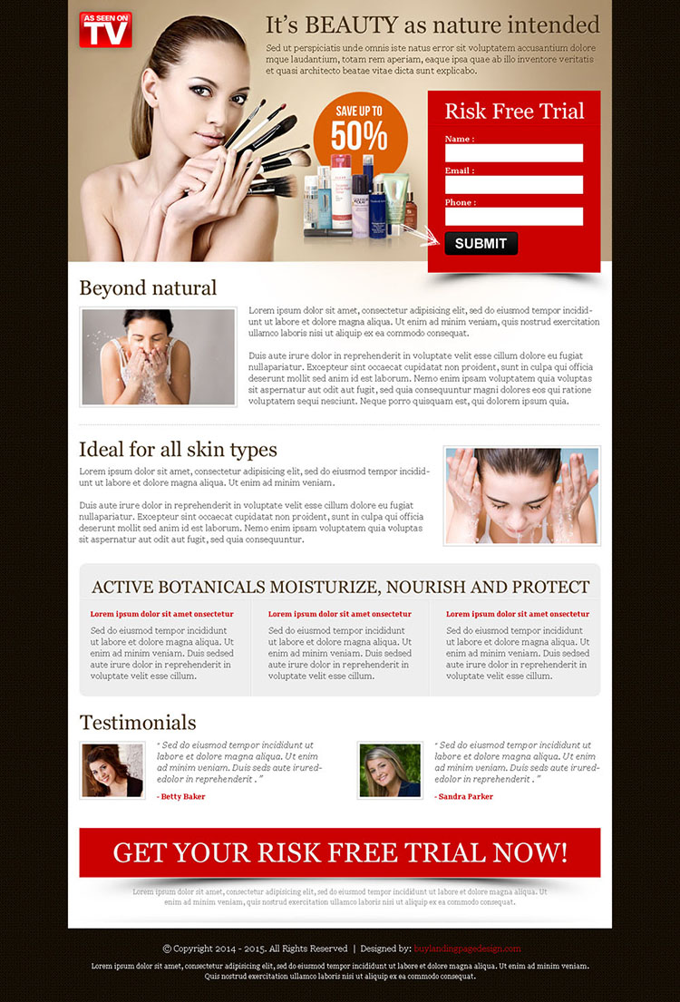 beauty product risk free trial effective and converting red small lead capture landing page