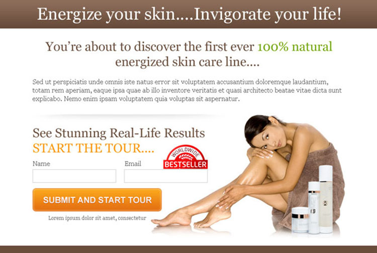 energize your skin lead capture ppv landing page design