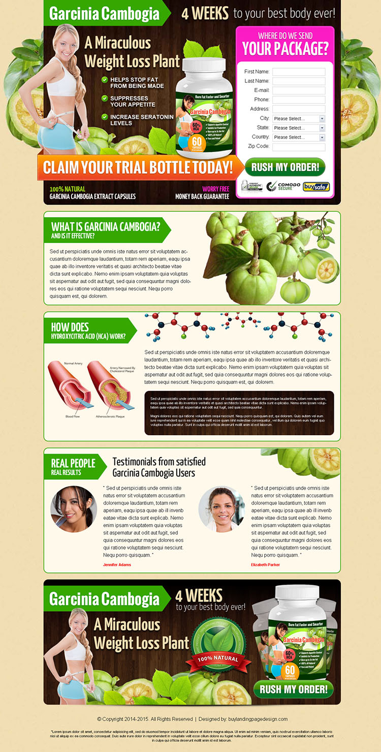 natural garcinia cambogia lead generation landing page design templates to boost sales your product online