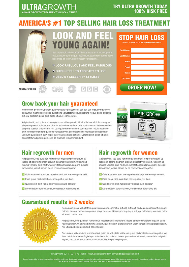 top selling hair loss treatment order now lead capture landing page