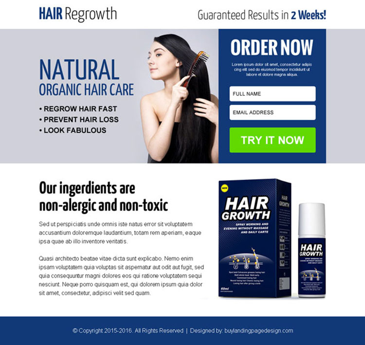 natural hair growth product ppv landing page design