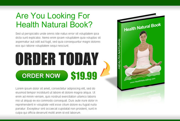 order health natural ebook ppv landing page design template