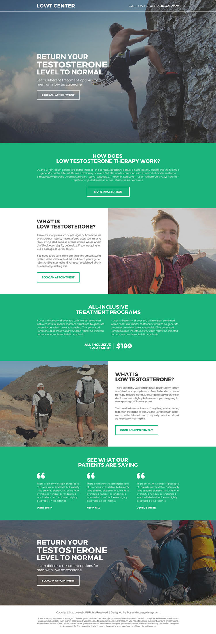natural low testosterone treatment landing page design
