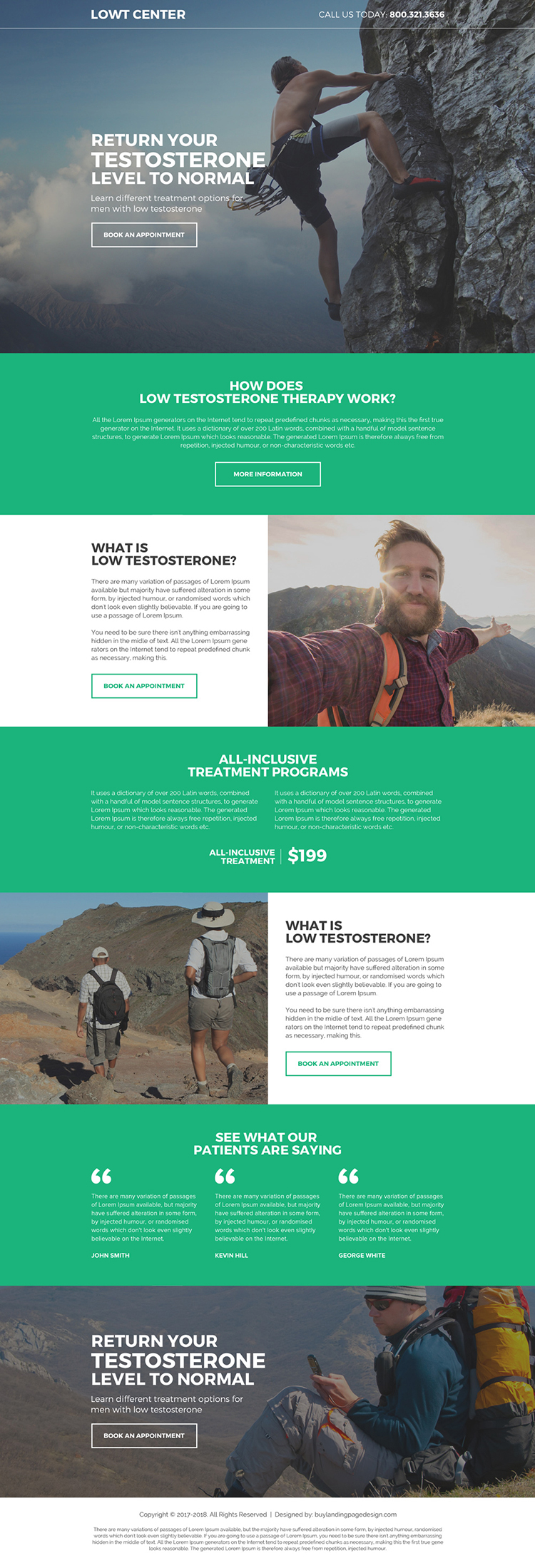 natural low testosterone responsive lead capturing landing page